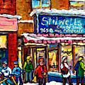 Stilwell's Candy Shop Montreal Memories Lasalle Verdun Winter City Scene Hockey Art Carole Spandau   by Carole Spandau