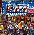 Stilwell's Candy Stop Winterscene Painting For Sale Montreal Hockey Art C Spandau Snowy Barber Shop by Carole Spandau