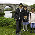 Stirling School Children By The Medieval Bridge  by Fran Gallogly