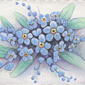 Stitched Forget-me-nots by Amy S Turner
