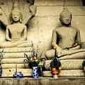 Stone And Flowers - Buddhist Shrine by Ian Gledhill