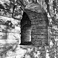 Stone Walls At Cincinnati Black And White by Mel Steinhauer
