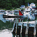 Stonington Harbor With Pier Maine Coast by Ed A Gage