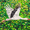 Stork In Flight by Valerie Ornstein