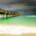 Storm Arrives At The Pier by Wolfgang Stocker