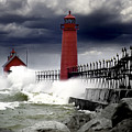 Storm At The Grand Haven Lighthouse by Randall Nyhof