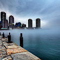 Storm Clouds And Fog Approaching Downtown Boston Massachusetts.  by Denis Tangney Jr
