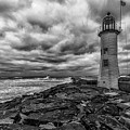 Storm Clouds Over Old Scituate Lighthouse In Black And White by Brian MacLean