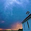 Storm Clouds Over Saskatchewan Country Church by Mark Duffy