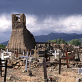 Storm Over Taos Graveyard by Sandra Bronstein