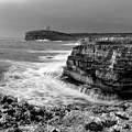 stormy sea - Slow waves in a rocky coast black and white photo by pedro cardona by Pedro Cardona Llambias