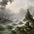 Stormy Sea With Lighthouse On The Coast by Celestial Images