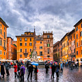 Stormy Skies Over A Roman Piazza by Mark Tisdale
