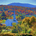 Stowe Vermont Church In Fall by Jeff Folger