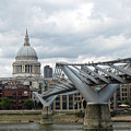 Stpauls Cathedral And The Millennium Bridge In London England by Gregory Dyer