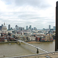 St.pauls Cathedral, The Millennium Bridge And Tate Museum In London England by Gregory Dyer