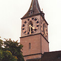 St.peter Church Clock In Zurich Switzerland by Susanne Van Hulst