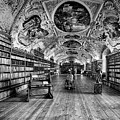 Strahov Monastery Theological Hall Bw by C H Apperson