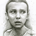 Stranger Things Eleven Upside Down Art Portrait by Olga Shvartsur