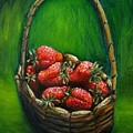 Strawberries Contemporary Oil Painting by Natalja Picugina
