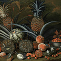 Strawberries In A Porcelain Bowl With Pineapples Melons Peaches And Figs Before A Tropical Landscape by George William Sartorius