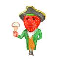 Strawberry Tricorn Hat Ice Cream Victorian Gentleman Watercolor by Aloysius Patrimonio