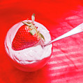 Strawberry Yogurt In Round Bowl With Spoon by Jorgo Photography - Wall Art Gallery