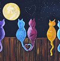 Stray Cats In Moonlight by Diana Haronis