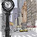 Street Clock On 5th Avenue Handmade Sketch by Drawspots Illustrations