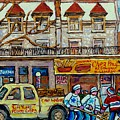 Street Hockey Pointe St Charles Winter  Hockey Scene Paul's Restaurant Quebec Art Carole Spandau     by Carole Spandau