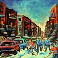 Streetscenes Of Montreal Hockey Paintings By Montreal Cityscene Specialist Carole Spandau by Carole Spandau