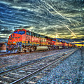 Strength In Numbers S N S F Locomotive 3734 Gallup New Mexico Train Art by Reid Callaway