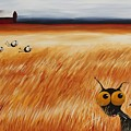 Stressie Cat And Crows In The Hay Fields by Lucia Stewart
