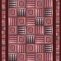Striped Squares On A Brown Background by Elena Simonenko