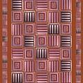 Striped Squares On A Mustard Background by Elena Simonenko