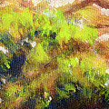 Structure Of Wooden Log Covered With Moss, Closeup Painting Detail. by Jozef Klopacka