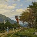 Strutzel, Otto 1855 Dessau - 1930   On The Way Home. In The Background The Steeple Of Garmisch-parte by Strutzel Otto