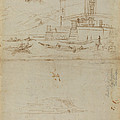 Studies Of Lago Maggiore And And The Entrance To A Palazzo by Gaspar Van Wittel