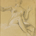 Study Of A Female Figure Seated On Clouds by Etienne Parrocel
