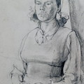 Study Of A Seated Girl. by Harry Robertson