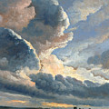 Study Of Clouds With A Sunset Near Rome by Simon Denis
