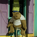 Stuffed Bear Chained To A Door by Todd Gipstein