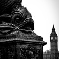 Sturgeon Lamp Post With Big Ben London Black And White by Marina McLain
