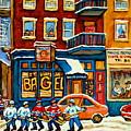 St.viateur Bagel Hockey Montreal by Carole Spandau