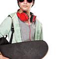 Stylish Boy With Skateboard by Anna Om