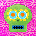 Sugar Skull Green and Pink by Linda Woods