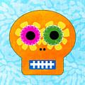 Sugar Skull Orange and Blue by Linda Woods
