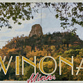 Sugarloaf In Fall Winona Mn Vintage Poster Yearous by Kari Yearous