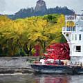 Sugarloaf With Paddlewheeler Digital Painting by Kari Yearous