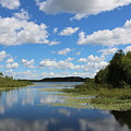 Summer Cloud Reflections On Little Indian Pond In Saint Albans Maine by Colleen Snow